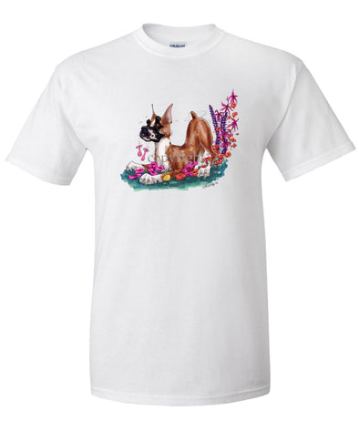 Boxer - Puppy Pose In Flowers - Caricature - T-Shirt