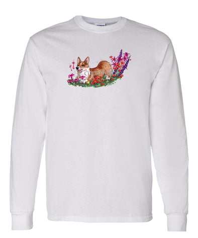 Welsh Corgi Pembroke - Flowers - Caricature - Long Sleeve T-Shirt