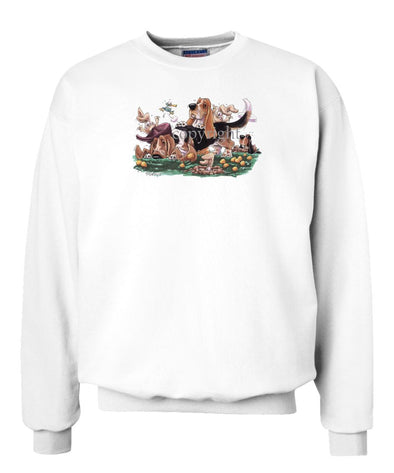 Basset Hound - Group With Rabbits - Caricature - Sweatshirt
