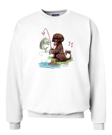 Portuguese Water Dog  Brown - Fishing - Caricature - Sweatshirt