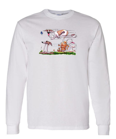 Whippet - Running Over Rabbit - Caricature - Long Sleeve T-Shirt
