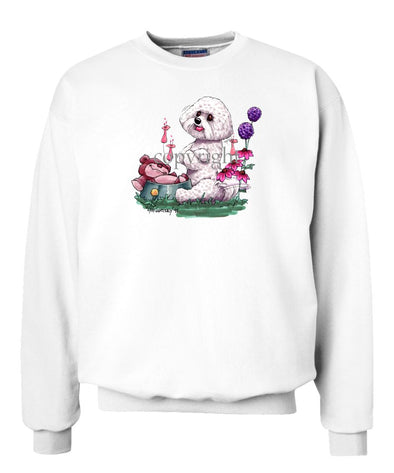 Bichon Frise - Toy Bear In Dish - Caricature - Sweatshirt