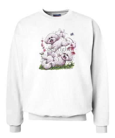 Bichon Frise - Group Playing - Caricature - Sweatshirt
