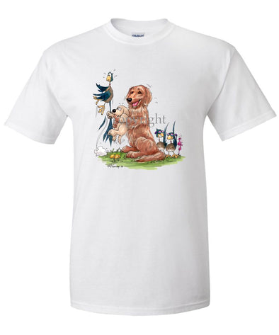 Golden Retriever - Puppy Holding Pheasants Tail - Caricature - T-Shirt