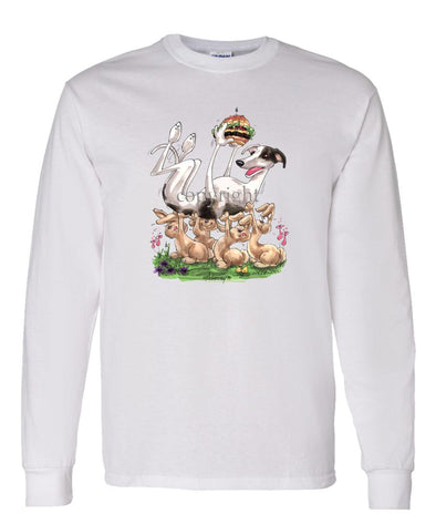 Greyhound - Cheesburger - Caricature - Long Sleeve T-Shirt