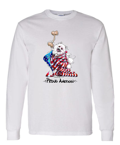 American Eskimo Dog - Proud American - Long Sleeve T-Shirt