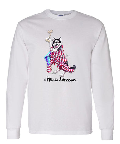 Siberian Husky - Proud American - Long Sleeve T-Shirt
