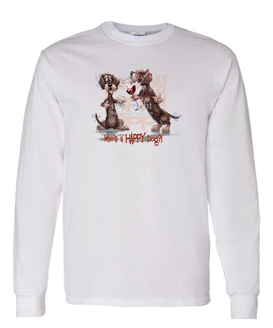 Dachshund  Wirehaired - Who's A Happy Dog - Long Sleeve T-Shirt