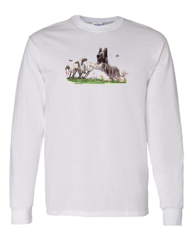 Briard - Pushing Sheep - Caricature - Long Sleeve T-Shirt