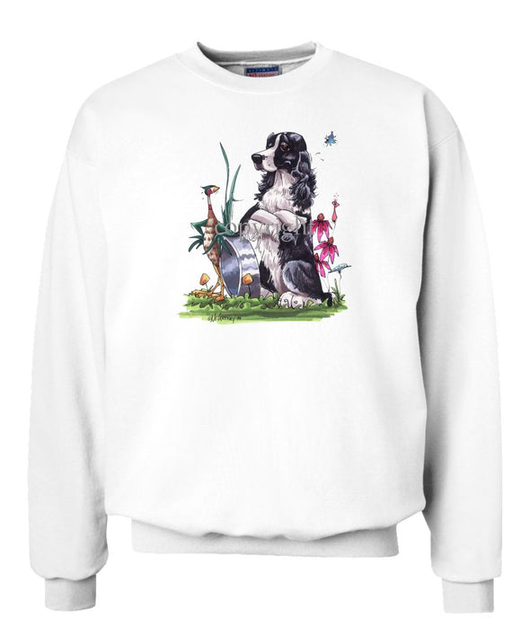 English Springer Spaniel - Sitting By Bowl With Pheasant - Caricature - Sweatshirt