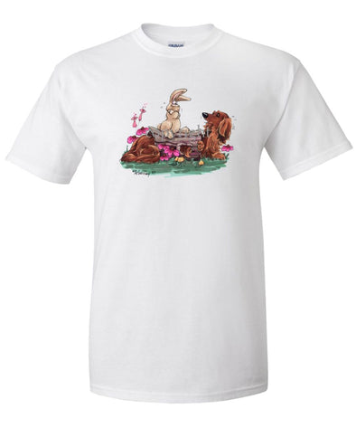 Dachshund  Longhaired - Hollow Log - Caricature - T-Shirt
