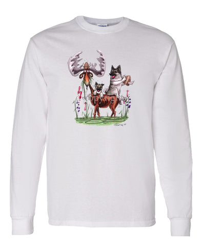 Norwegian Elkhound - Sitting On Moose - Caricature - Long Sleeve T-Shirt