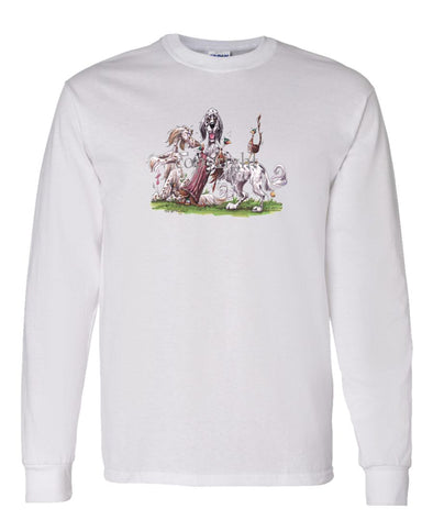 English Setter - Group Hollow Log And Pheasants - Caricature - Long Sleeve T-Shirt