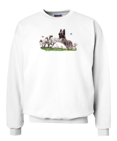 Briard - Pushing Sheep - Caricature - Sweatshirt