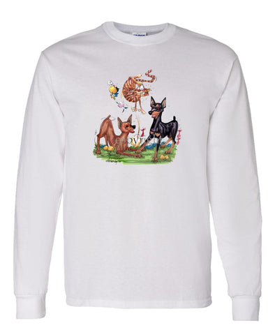 Miniature Pinscher - Group Chasing Cat - Caricature - Long Sleeve T-Shirt