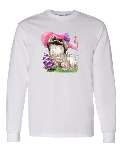 Pekingese - Pink Hat - Caricature - Long Sleeve T-Shirt