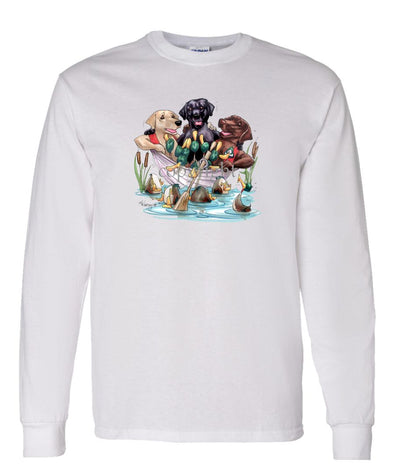 Labrador Retriever - Group In Boat - Caricature - Long Sleeve T-Shirt