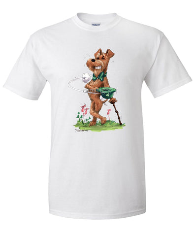 Irish Terrier - Tipping Hat - Caricature - T-Shirt