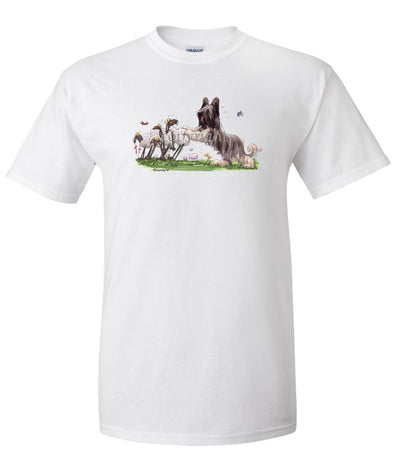 Briard - Pushing Sheep - Caricature - T-Shirt