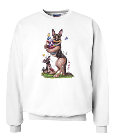 German Shepherd - Holding Balls And Toys - Caricature - Sweatshirt