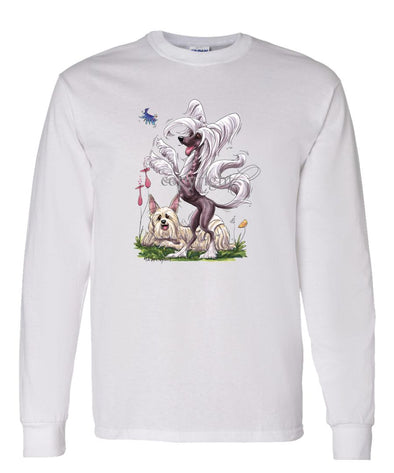 Chinese Crested - Group Standing - Caricature - Long Sleeve T-Shirt