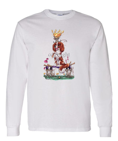 Cavalier King Charles - With Mice And Crown - Caricature - Long Sleeve T-Shirt