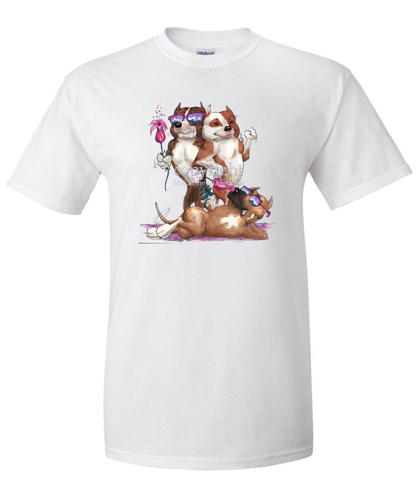 American Staffordshire Terrier - Group Trio - Caricature - T-Shirt