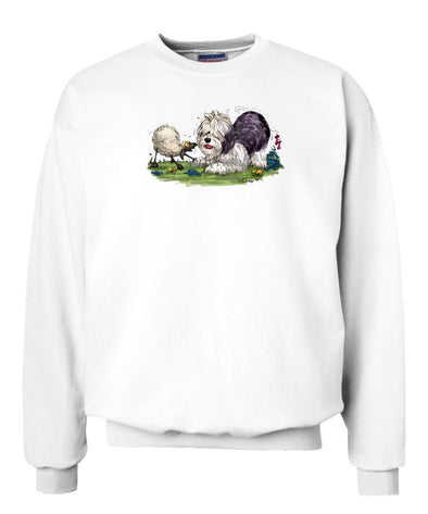 Old English Sheepdog - With Sheep - Caricature - Sweatshirt