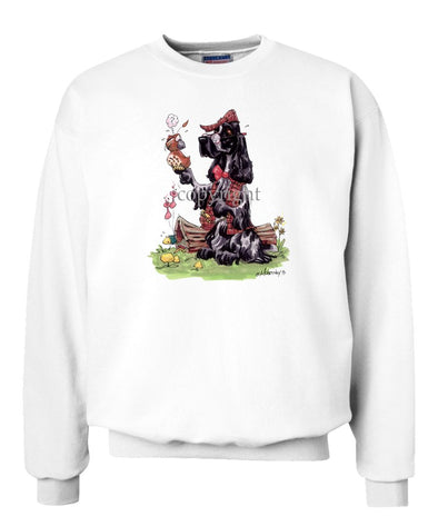 English Cocker Spaniel - Holding Quail - Caricature - Sweatshirt