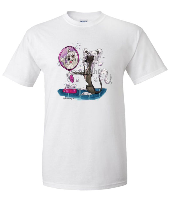 Chinese Crested - Looking In Mirror - Caricature - T-Shirt