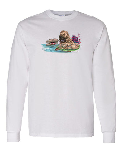 Shar Pei - Hippo Water - Caricature - Long Sleeve T-Shirt