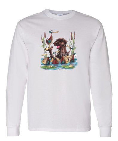 Labrador Retriever  Chocolate - Wading With Ducks - Caricature - Long Sleeve T-Shirt