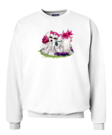 Maltese - With Flower - Caricature - Sweatshirt