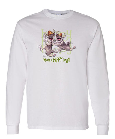 Norwegian Elkhound - Who's A Happy Dog - Long Sleeve T-Shirt
