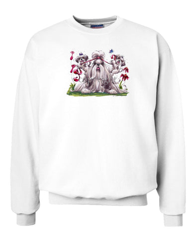 Shih Tzu - Puppies Pulling Ribbon - Caricature - Sweatshirt