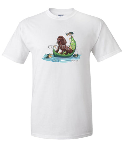 American Water Spaniel - Canoe - Caricature - T-Shirt