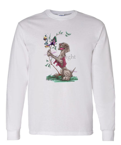 Weimaraner - Shaking Cookoo Bird - Caricature - Long Sleeve T-Shirt