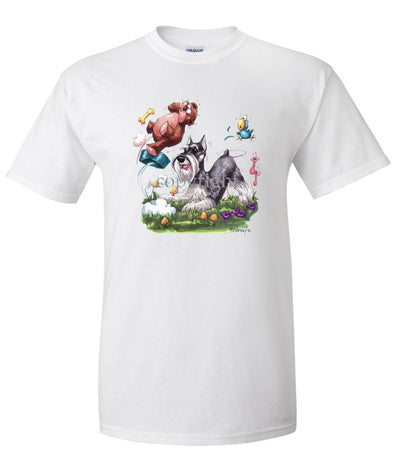 Schnauzer - Pouncing Dish Teddy Bear - Caricature - T-Shirt
