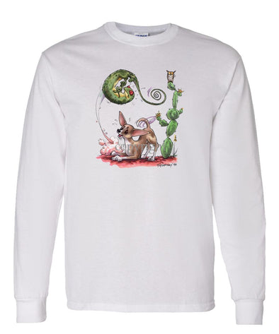 Chihuahua  Smooth - Chasing Lizard - Caricature - Long Sleeve T-Shirt
