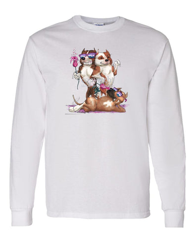 American Staffordshire Terrier - Group Trio - Caricature - Long Sleeve T-Shirt