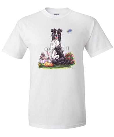 Border Collie - Sitting With Sheep In Dish - Caricature - T-Shirt