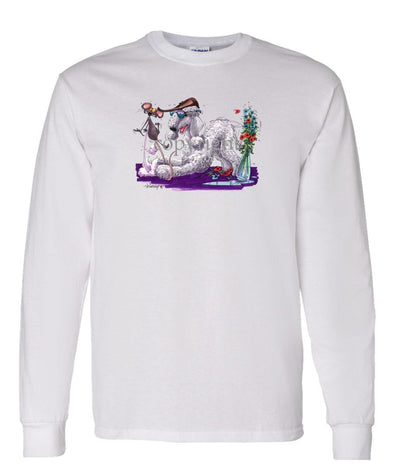 Bedlington Terrier - Puppy Pose With Mouse - Caricature - Long Sleeve T-Shirt