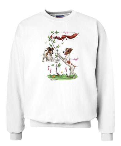 Jack Russell Terrier - Group Spinning Fox In Tree - Caricature - Sweatshirt