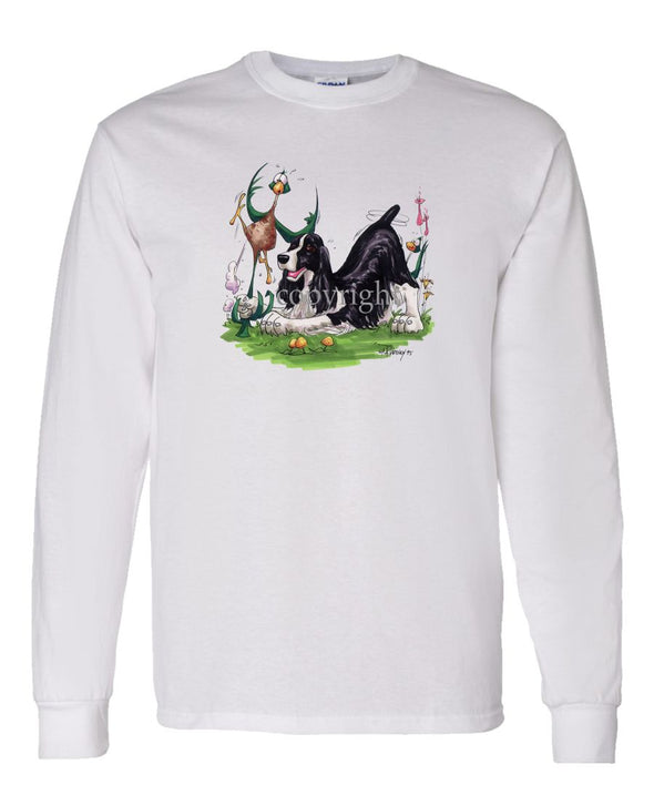 English Springer Spaniel - Pheasant By The Tail - Caricature - Long Sleeve T-Shirt