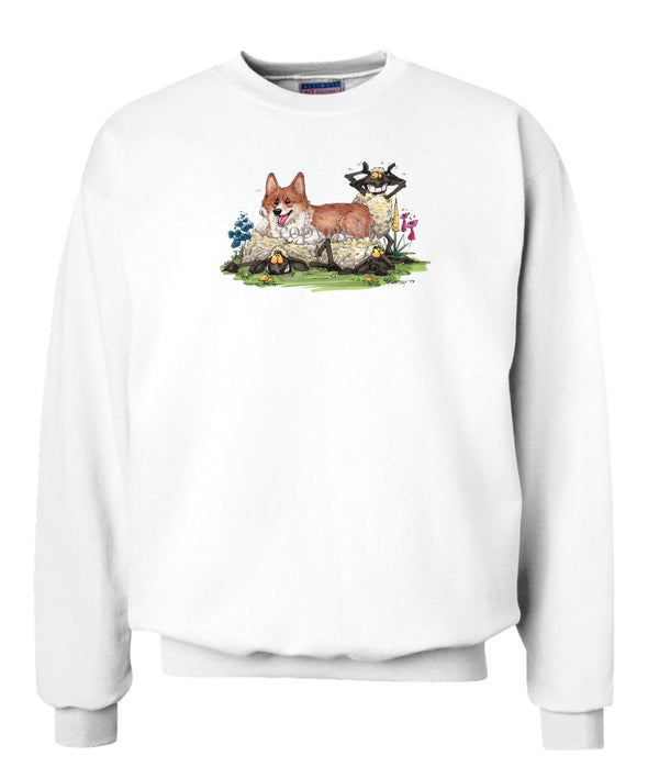 Welsh Corgi Pembroke - Laying On Sheep - Caricature - Sweatshirt