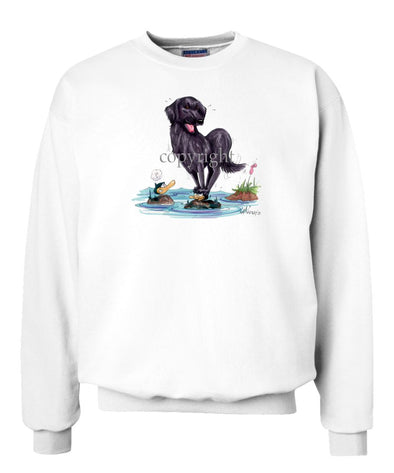 Flat Coated Retriever - Standing On Ducks Head - Caricature - Sweatshirt