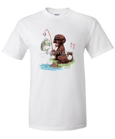 Portuguese Water Dog  Brown - Fishing - Caricature - T-Shirt