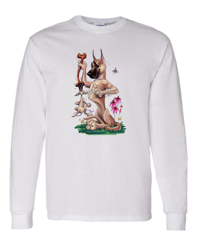 Great Dane - Puppy Hanging Onto Bone - Caricature - Long Sleeve T-Shirt