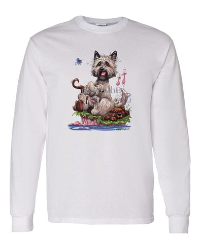 Cairn Terrier - Sitting On Otter - Caricature - Long Sleeve T-Shirt