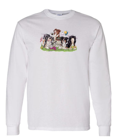 Australian Shepherd - Group Tickling Sheep - Caricature - Long Sleeve T-Shirt